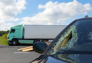 car in accident with a truck