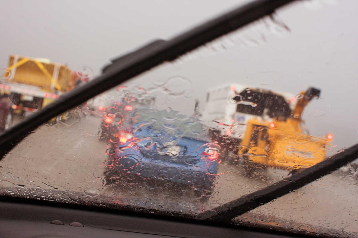 St. Louis traffic in the rain