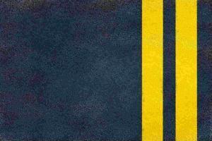 double yellow line on highway