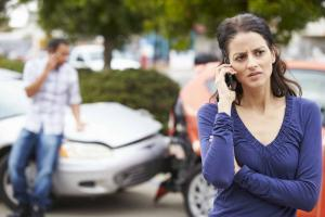 on the phone after a car accident