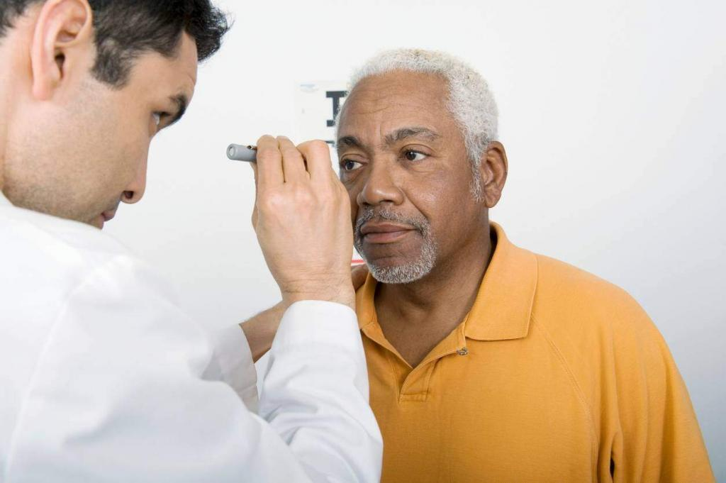 car crash victim getting an eye exam