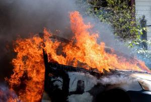car on fire after auto accident