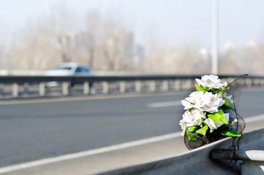 flowers at the scene of a fatal car accident