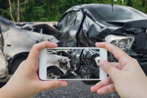 taking picture of t-bone car accident