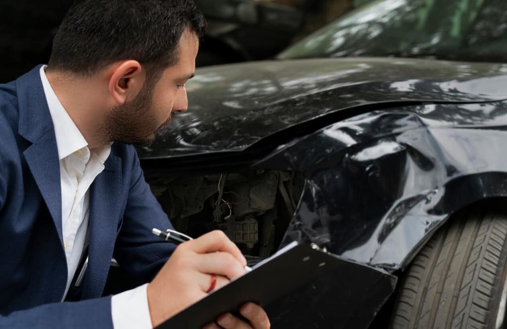 insurance examining accident damage