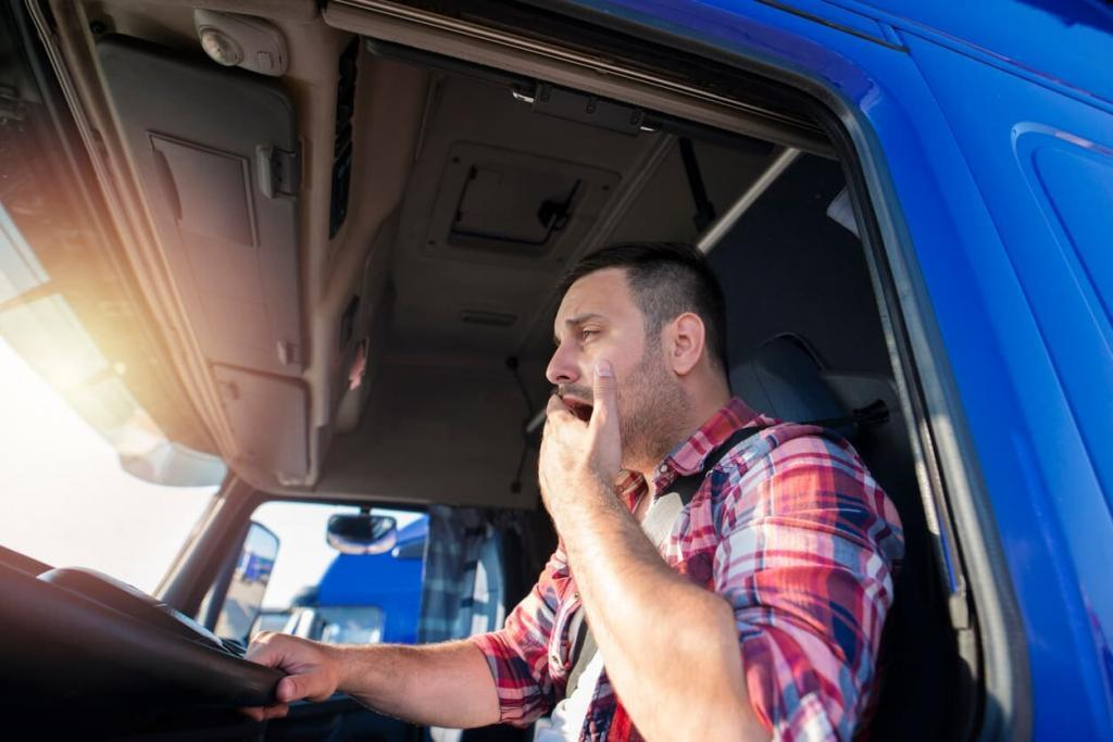 fatigued truck driver yawning