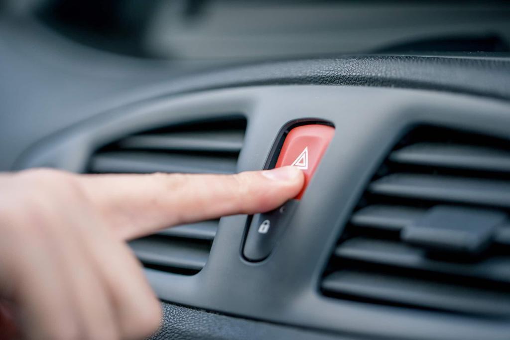 hazard lights button on car